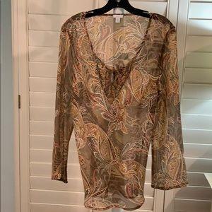 A lovely chiffon blouse! Warm Autumn colors. #A281